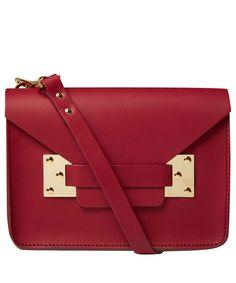 Sophie Hulme Burgundy Mini Envelope Soft Leather Clutch Bag