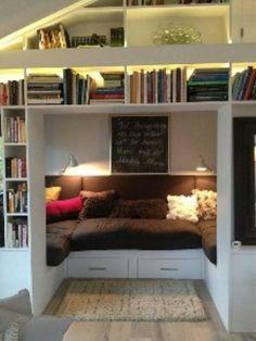 81 Cozy Home Library Interior Ideas www.futuristarchi… 81 Cozy Home Library Interior Ideas www. Home Libraries, Cozy Nook, Bed Nook, Alcove Bed, Cosy Corner, Deco Design, Design Art, Home And Deco, Small Bedrooms