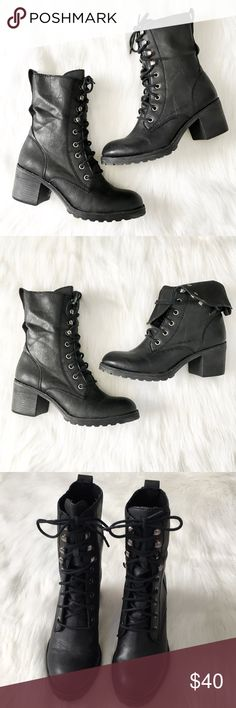 """American Rag Combat Boots EUC Heeled lace up combat boots, approximately 2.5"""" heel. Hardly any wear and tear, imperfections pictured. American Rag Shoes Combat & Moto Boots"""