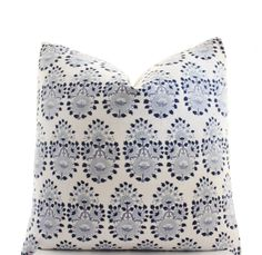 This pillow cover is made to order and is sewn from John Robshaw Lanka Lapis fabric on the front, featuring a white base with indigo design elements and backed by the flax colored linen blend fabric in the last photo (this fabric is a little darker than whats previously been used). Please be aware that the cotton/linen blend fabric is block printed by hand, so there will be slight variation in color, pattern repeats as well as spots of ink smudging. Please note that the pillow cover you…