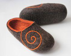 Handmade+felted+Wool++Crocs+Slippers.+Braun+Gray+/+by+DMpics,+$60.00