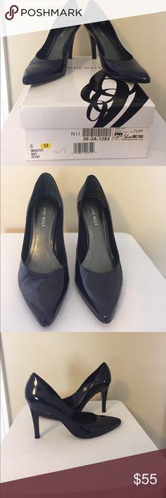 """Nine West Navy Patent Leather Heels Nine West Navy patent leather heels. The color is a very deep blue. Leather upper, remainder man made materials. 3 3/4"""" heel. Size 6. Nine West Shoes Heels"""
