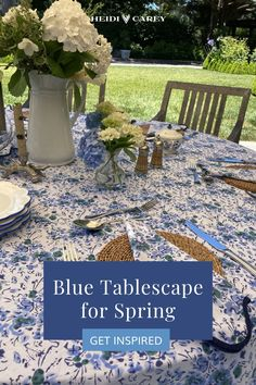 Elevate any table with my scalloped tablecloth. The blue floral pattern is a custom block print, and elegantly accented by navy scalloping. Heidi Carey Home Wear Collection