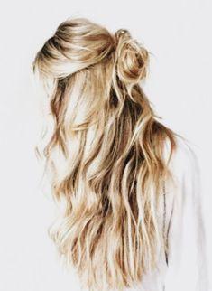 half bun + loose waves | long blonde hair ideas