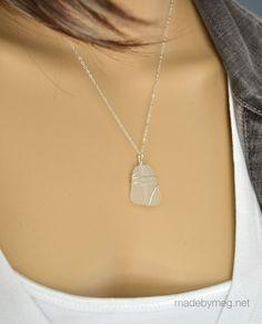 White sea glass pendant - Pali design