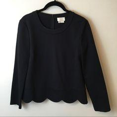 kate spade Tops - Kate Spade Black Scalloped Long Sleeve Shirt