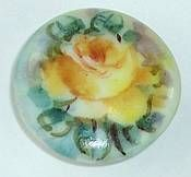 Vintage Porcelain Button w/Hand Painted & Signed Yellow Rose