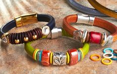 Regaliz Leather Bracelets -  Get Creative with GoodyBeads.com large selection of Regaliz Leather and accessorizes. Start off your leather bracelet with a combination of metal spacer beads, rubber O-Rings and ceramic beads to give it a distinctly designer feel.