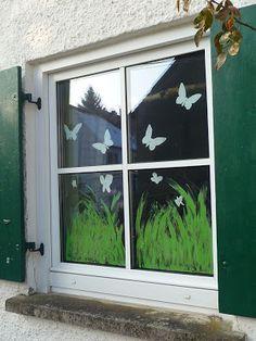 My green meadow: the spring window - Craft Ideas Diy Butterfly, American Decor, Wall Crosses, Window Art, Spring Day, Prado, Classroom Decor, Diy For Kids, Decoration
