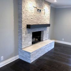 Stone Fireplace Wall, Stone Fireplace Makeover, Stacked Stone Fireplaces, Farmhouse Fireplace, Fireplace Hearth, Home Fireplace, Fireplace Remodel, Living Room With Fireplace, Fireplace Surrounds