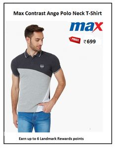 #Max #Contrast #Ange #Polo #Neck #T-Shirt #Design : Solid #Price: ₹699.00 #Fit : Slim #Style : Casual #Fabric : Cotton Blend
