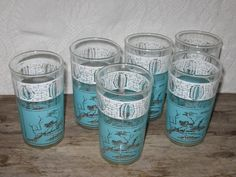 Vintage Set of 6 Asian Turquoise and White Tiki Bar by SavvyFlair