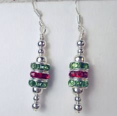 Red Green Crystal rondels silver bead Christmas by beadwizzard