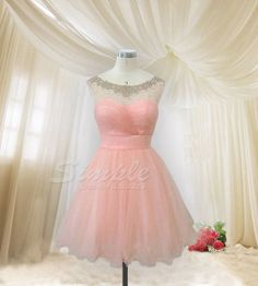 Hey, I found this really awesome Etsy listing at https://www.etsy.com/listing/169701689/cheap-pink-tulle-short-prom-dress