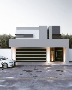 Remodeling Casa CZ by gb architect - casas Architecture ideas House Front Design, Modern House Design, Door Design, Exterior Design, Modern Houses, Modern House Facades, Luxury Houses, Modern Garage Doors, Build Your House