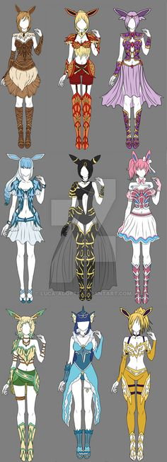 Eevee Gijinka Adopts - Auction OPEN by Luca-Adopts.deviantart.com on @DeviantArt