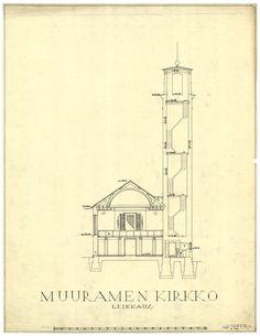 Muurame church - section / Alvar Aalto 1920's