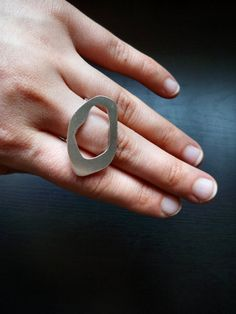Sterling silver free form ring - wire band - size 8 - Metal jewelry by Lamazonian. $57.00