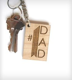 #1 Dad Wooden Keychain