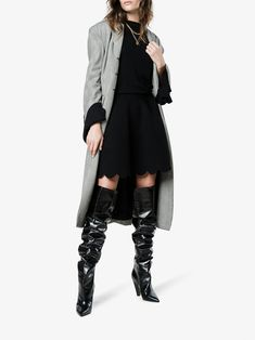 Shop Alexander McQueen Scalloped hem mini skirt from our A-Line Skirts collection. A Line Skirts, Mini Skirts, Bodysuit Dress, Scalloped Hem, Alexander Mcqueen, Duster Coat, Brown, Jackets, Outfits