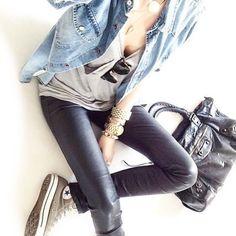 Denim Shirt, Leather Look Leggings & All Stars