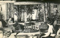 Missaukee Lake City MI great Missaukee Resort Lodge Interior RPPC