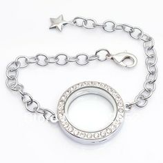 Aliexpress 10pcs Lot 30mm Round Magnetic Floating Bracelet With Rhinestones Charms Adjule Size18 23cm Fb0005 From Reliable