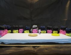 Keeping in the Easter spirit, Peeps take on the Twelve Apostles, including Judas Iscariot at the Last Supper.