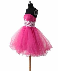 Cute short princess pink poofy prom puffy formal homecoming dresses 2014
