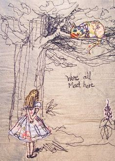 """Alice In Wonderland"" freestyle embroidered bookcover"