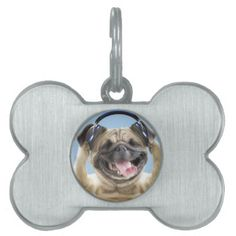 #Pug with headphonespug pet pet ID tag - #pettag #pettags #dogtag #dogtags #puppy #dog #dogs #pet #pets #cute #doggie