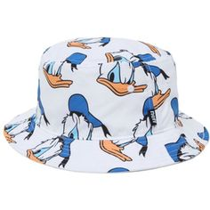 Presents the Neff Donald Bucket Hat for men. This trendy men's bucket hat is the newest of Neff's Disney Collection and offers a bright Donald Duck print throughout the white cap. Allover multi color print bucket hat. Neff logo loop on side. One size fits most. Dry clean only. 100% polyester. Imported.