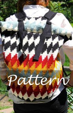 CROCHET PATTERN for The Roll Top Backpack by SansLimitesCrochet. $$$