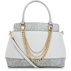 New Look Grey Snakeskin Panel Chain Strap Tote Bag (£25) ❤ liked on Polyvore featuring bags, handbags, tote bags, grey, snakeskin purse, gray handbags, gray tote handbags, tote handbags and grey tote bag
