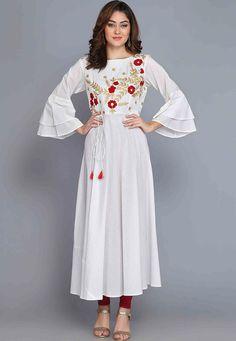 Kurta: Buy Indo Western Kurta for Women - Latest Designs Online Kurta Designs Women, Blouse Designs, Embroidery Stitches, Hand Embroidery, Hot Suit, Kurti Sleeves Design, A Line Kurta, Punjabi Dress, Designer Kurtis