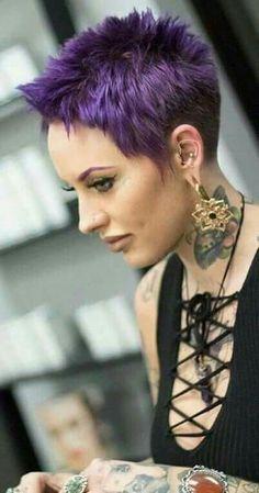 Women short punk rock hair