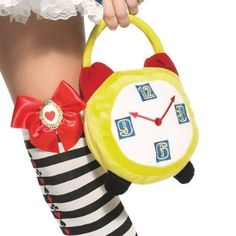 Crazy Hour Alarm Clock Purse : Having a Mad Hatter or Alice in Wonderland themed party? Show up for your very important date right on time with this cute plush clock purse. Disney Costumes, Adult Costumes, Alice In Wonderland Fancy Dress, Fairy Tale Costumes, Alice Costume, Wonderland Costumes, Halloween Costume Accessories, Mad Hatter Tea, Costume Shop