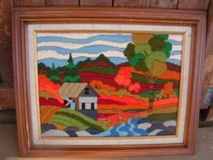 Crewel Yarn Embroidery Art Picture Landscape House Trees Wall Art Hanging Mid Century Textile Fiber Art
