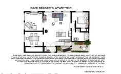 Floor plan of Kate Beckett's apartment in the TV show Castle