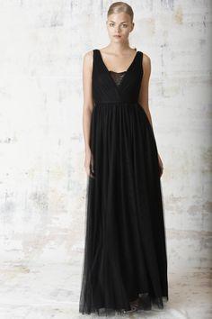 "black tulle ""v"" neck long bridesmaid dress"