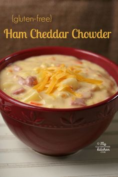 Ham Cheddar Chowder {Gluten-free}  This is the perfect recipe for using up that leftover holiday ham!