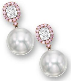 PAIR OF CULTURED PEARL, PINK DIAMOND AND DIAMOND PENDENT EARRINGS.     Each suspending on a cultured pearl measuring approximately 18.00mm, surmounted by a cushion-shaped diamond weighing 2.01 and 1.60 carats respectively, framed and connected by brilliant-cut pink diamonds altogether weighing approximately 1.75 carats, mounted in platinum and 18 karat pink gold, pendant detachable.      Sotheby's.
