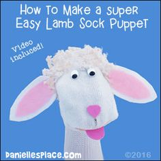 Easy to Make lamb or sheep sock puppet craft for kids from www.daniellesplace.com