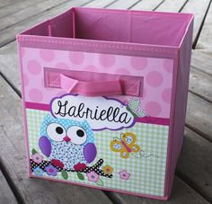 Pink and Purple Owl Personalized Fabric Bin Girl's by ToadAndLily, $18.00