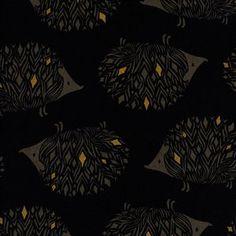 Sarah Watts - Sleep Tight Canvas - Prickles Canvas in Black Metallic