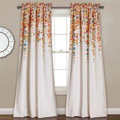 Half Moon Weeping Flowers 2 Piece Curtain Panel Set - 16T000557