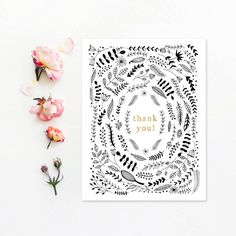 THANK YOU  Set of 4 blank notecards with white envelopes, featuring my original…