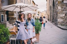 Gal Meets Glam Montalcino - Vivetta dress and Madewell jacket on Julia and ASOS dress on Rose