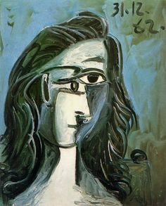 "Pablo Picasso - ""Head of a Woman"", 1962 Pablo Picasso, Picasso Cubism, Picasso Blue, Picasso Images, Picasso Portraits, Picasso Paintings, Georges Braque, Cubist Movement, Francis Picabia"