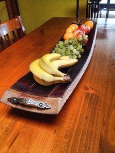 Oak wine barrel serving platter / fruit bowl - with carry handles